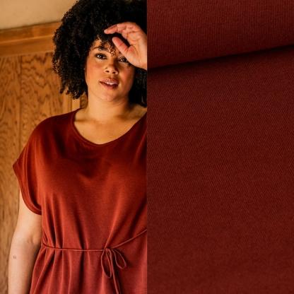 Fibre Mood - Tissu Jersey de Viscose Mélangé Uni Couleur Terracotta