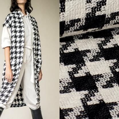 Fibre Mood - Tissu Polyester à Pied de Coq Couleur Noir et Blanc