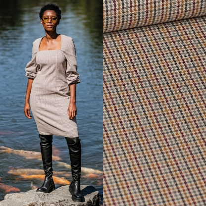 Fibre Mood - Tissu Tissé Teint de Coton Melangé aux Petits Carreaux Multicolores