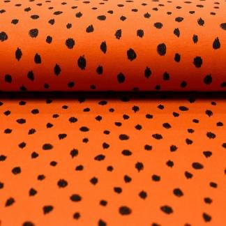 """Poppy - Tissu Jersey Sweat de Coton Gratté Imprimé """"Taches"""" sur le Fond Rouille"""