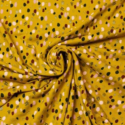 """Poppy - Tissu Jersey de Coton Imprimé Taches """"Glitter Dots"""" sur le Fond Ocre"""