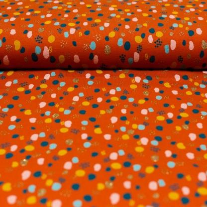"""Poppy - Tissu Jersey de Coton Imprimé Taches """"Glitter Dots"""" sur le Fond Rouille"""