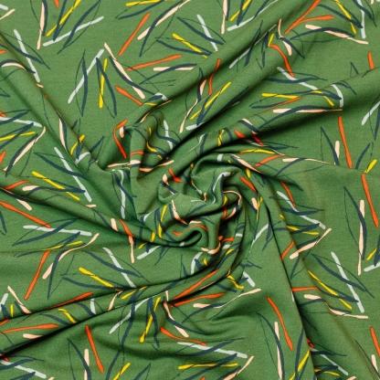 """Poppy - Tissu Jersey de Coton Molletonné Imprimé Traits """"Fantasy Stripes"""" sur le Fond Vert"""