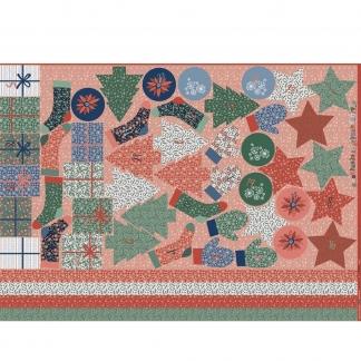 Poppy - Tissu Popeline de Coton Imprimé Calendrier de l'Avent sur le Fond Rouge et Vert