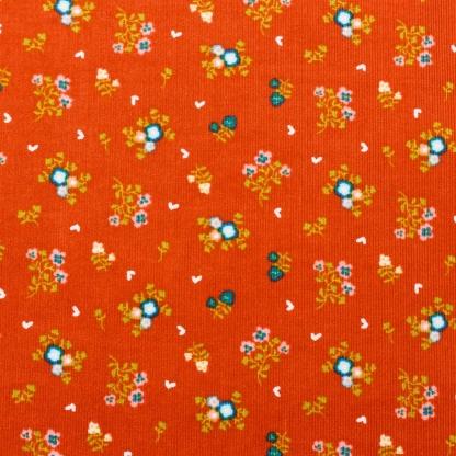 """Poppy - Tissu Velours Milleraies Imprimé Fleurs """"Sweet Little Flowers"""" sur le Fond Terracotta"""