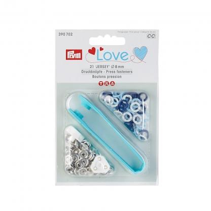 """Prym - Boite 21 Boutons Pression """"Jersey"""" Prym Love Coloris Bleu Clair, Bleu et Blanc avec Outil de Pose (8 mm)"""