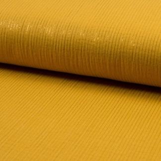 Sélection Coup de coudre - Tissu Double Gaze de Coton aux Rayures Lurex sur le Fond Jaune Moutarde