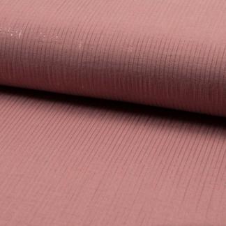 Sélection Coup de coudre - Tissu Double Gaze de Coton aux Rayures Lurex sur le Fond Vieux Rose