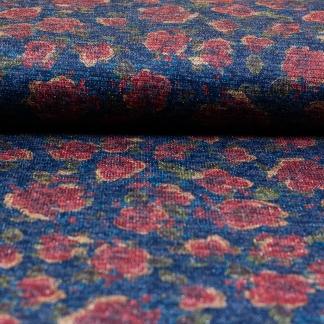 Sélection Coup de coudre - Tissu Jersey Maille Milano Imprimé Fleurs sur le Fond Bleu Marine
