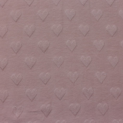 Sélection Coup de coudre - Tissu Jersey de Coton à Motif Coeurs Uni Couleur Vieux Rose