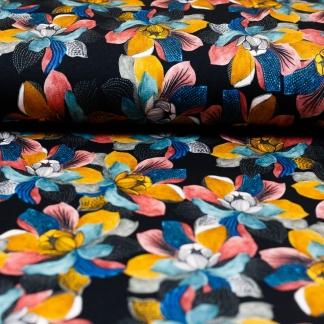 Sélection Coup de coudre - Tissu Jersey de Viscose Imprimé Magnolias sur le Fond Noir