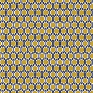 Sélection Coup de coudre - Tissu Popeline de Coton Imprimé Hexagone sur le Fond Jaune Ocre