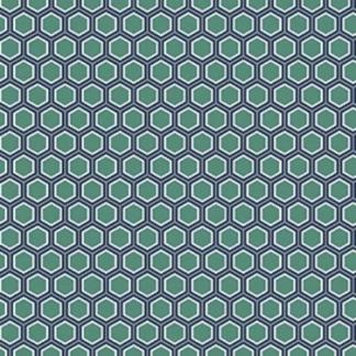 Sélection Coup de coudre - Tissu Popeline de Coton Imprimé Hexagone sur le Fond Vert Menthe