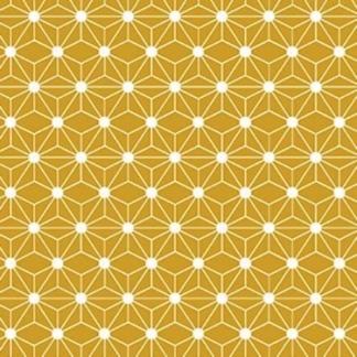 Sélection Coup de coudre - Tissu Popeline de Coton à Motif Japonais Asanoha sur le Fond Jaune Ocre