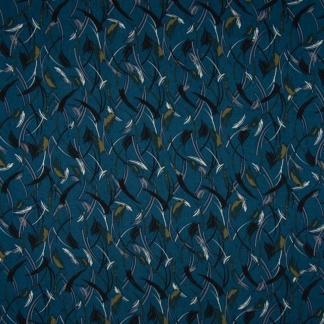Sélection Coup de coudre - Tissu Twill de Viscose Imprimé Plumes sur le Fond Bleu Canard