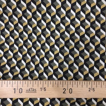Sélection Coup de coudre - Tissu Twill de Viscose à motif Graphique Noir, Kaki et Jaune Moutarde sur le Fond Blanc