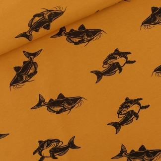 """See You at Six - Tissu Jersey Sweat Léger de Coton Imprimé Carpes """"Carps"""" sur le Fond Brun Dusan"""