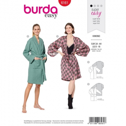 Burda Style – Patron Femme Kimono n°6161 du 34 au 44