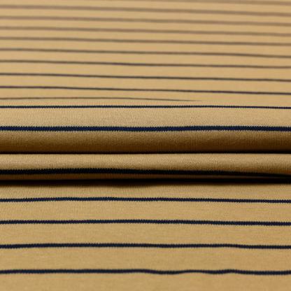 C. Pauli - Tissu Jersey Interlock de Coton Bio à Rayures Bleu Marines sur le Fond Beige Foncé
