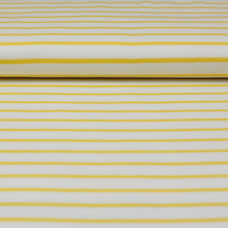 C. Pauli - Tissu Jersey Interlock de Coton Bio à Rayures Jaunes sur le Fond Blanc