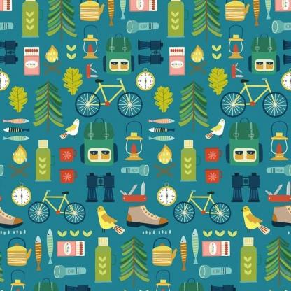 Dashwood Studio - Tissu Patchwork de Coton Imprimé Matériel de Camping sur le Fond Bleu