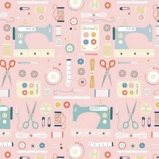 Dashwood Studio - Tissu Patchwork de Coton Imprimé Matériel de Couture sur le Fond Rose Claire