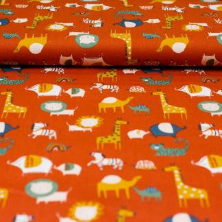 """Poppy - Tissu Popeline de Coton Imprimé Animaux """"Safari Friends"""" sur le Fond Terracotta"""