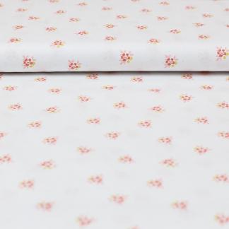 Poppy - Tissu Popeline de Coton Imprimé Fleurs sur le Fond Blanc