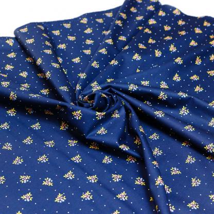 Poppy - Tissu Popeline de Coton Imprimé Fleurs sur le Fond Bleu Foncé