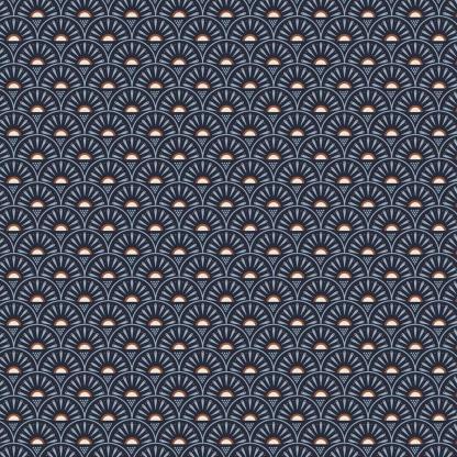 """Poppy - Tissu Popeline de Coton Imprimé """"Rétro Graphic"""" sur le Fond Bleu Marine"""