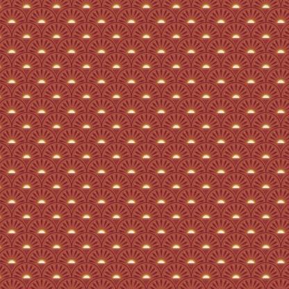"""Poppy - Tissu Popeline de Coton Imprimé """"Rétro Graphic"""" sur le Fond Terracotta"""