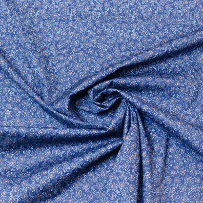 Sélection Coup de coudre - Tissu Popeline de Coton Stretch Imprimé Petits Fleurs sur le Fond Bleu Foncé