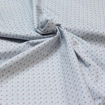 Selection Coup de coudre - Tissu Sergé Twill de Coton Imprimé Fleurs et Points sur le Fond Bleu Clair