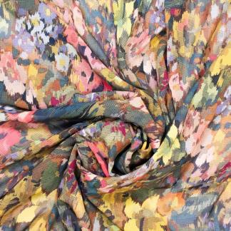 Fibre Mood - Tissu Crêpe Georgette Imprimé Fleurs sur le Fond Noir