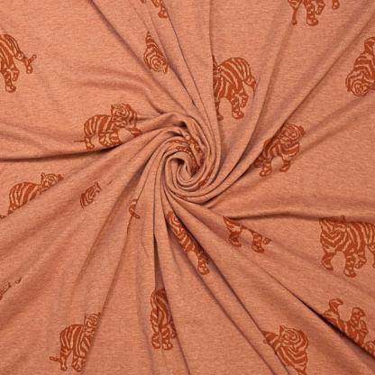 Fibre Mood - Tissu Jacquard de Coton à Motif Tigre sur le Fond Orange