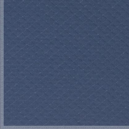 Fibre Mood - Tissu Jersey de Coton Matelassé à Motif Losange Uni Couleur Bleu Indigo