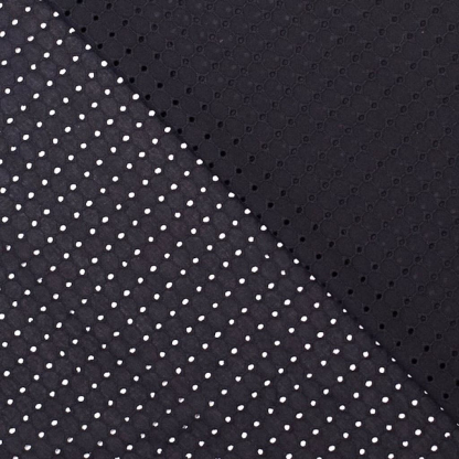 Fibre Mood - Tissu Popeline de Coton Broderie Anglaise Ajouré Grille Uni Couleur Noir