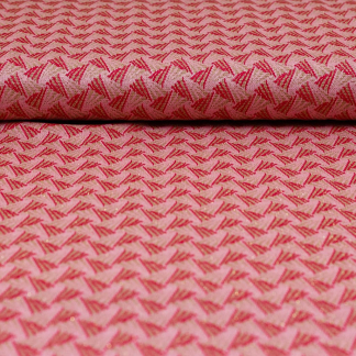 Sélection Coup de coudre - Tissu Jacquard de Viscose à Motif Triangles Rouges sur le Fond Rose