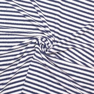Sélection Coup de coudre - Tissu Jersey de Polyester à Motif Grosses Rayures Marinières Bleues sur le Fond Blanc
