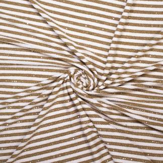 Sélection Coup de coudre - Tissu Jersey de Polyester à Motif Grosses Rayures Marinières Jaune Ocre sur le Fond Blanc