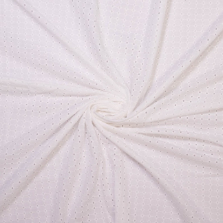 Sélection Coup de coudre - Tissu Popeline de Coton Broderie Anglaise Ajouré Grille Uni Couleur Blanc