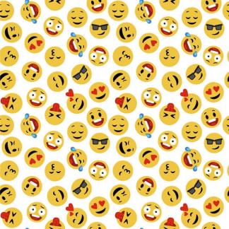 Sélection Coup de coudre - Tissu Popeline de Coton Imprimé Emoji sur le Fond Blanc