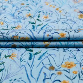 Sélection Coup de coudre - Tissu Popeline de Viscose Imprimé Fleurs en Bleu Turquoise et Jaune Ocre sur le Fond Bleu Clair