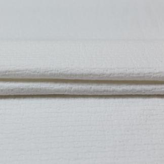 """Sélection Coup de coudre - Tissu Toile de Coton """"Dobby"""" Texturé Effet Crépon à Motif Petits Pois Couleur Blanc"""