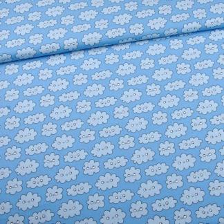 Eva Mouton - Tissu Popeline de Coton Bio Imprime Imprimé Nuages Blanches sur le Fond Bleu Clair