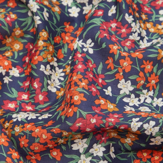 Liberty London - Tissu Sea Blossoms Tana Lawn Coton Bleu Marine