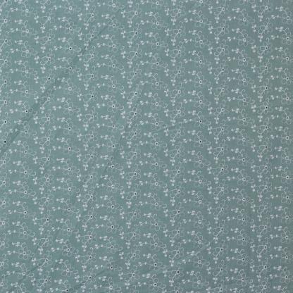 Sélection Coup de coudre - Tissu Popeline de Coton Broderie Anglaise Rébrodé Fleurs Uni Couleur Vert De Mer