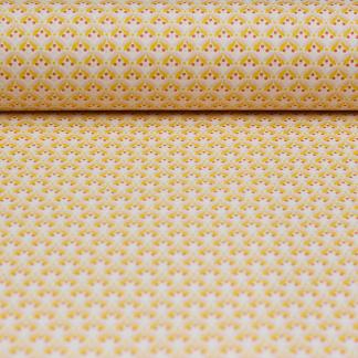 Sélection Coup de coudre - Tissu Popeline de Coton Enduit Imprimé Feuilles Jaunes et Roses sur le Fond Crème