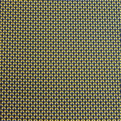 Sélection Coup de coudre - Tissu Popeline de Coton Enduit Imprimé Feuilles Jaunes sur le Fond Bleu Marine