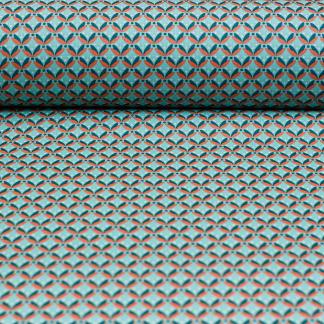 Sélection Coup de coudre - Tissu Popeline de Coton Enduit Imprimé Feuilles Oranges sur le Fond Vert Menthe